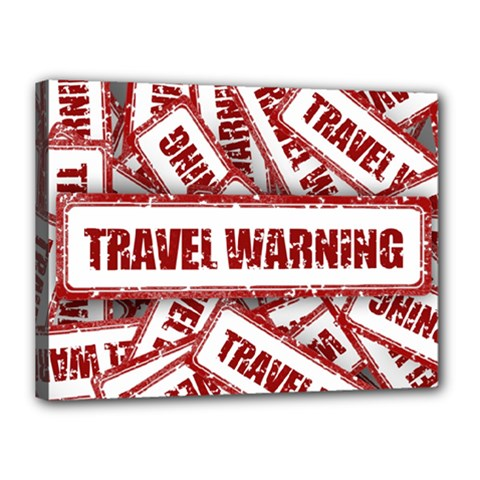 Travel Warning Shield Stamp Canvas 16  X 12  by Nexatart
