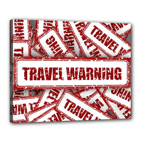 Travel Warning Shield Stamp Canvas 20  X 16