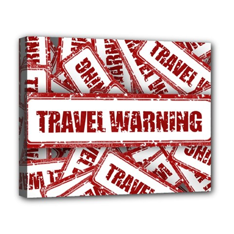Travel Warning Shield Stamp Deluxe Canvas 20  X 16   by Nexatart
