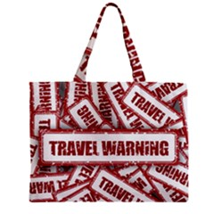 Travel Warning Shield Stamp Zipper Mini Tote Bag by Nexatart