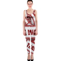 Travel Warning Shield Stamp Onepiece Catsuit