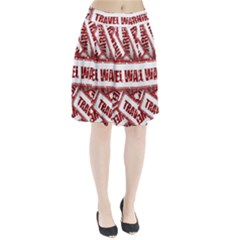 Travel Warning Shield Stamp Pleated Skirt