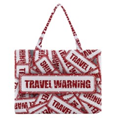 Travel Warning Shield Stamp Zipper Medium Tote Bag by Nexatart