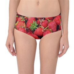 Strawberries Berries Fruit Mid Waist Bikini Bottoms