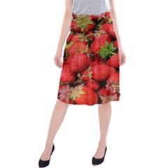 Strawberries Berries Fruit Midi Beach Skirt
