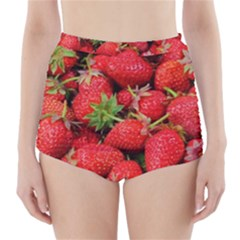 Strawberries Berries Fruit High Waisted Bikini Bottoms