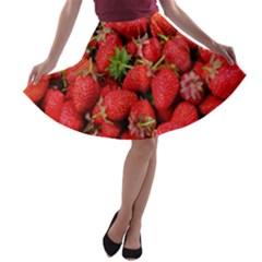 Strawberries Berries Fruit A Line Skater Skirt
