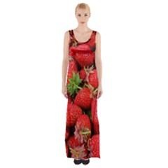 Strawberries Berries Fruit Maxi Thigh Split Dress