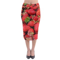 Strawberries Berries Fruit Midi Pencil Skirt