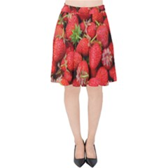 Strawberries Berries Fruit Velvet High Waist Skirt