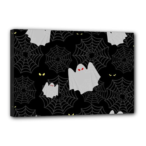 Spider Web And Ghosts Pattern Canvas 18  X 12  by Valentinaart