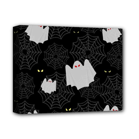 Spider Web And Ghosts Pattern Deluxe Canvas 14  X 11  by Valentinaart