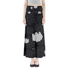 Spider Web And Ghosts Pattern Full Length Maxi Skirt by Valentinaart