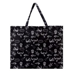 Skeleton Pattern Zipper Large Tote Bag by Valentinaart