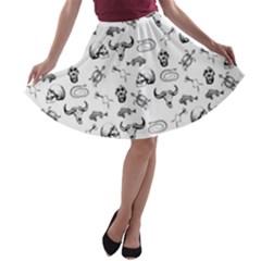 Skeleton Pattern A Line Skater Skirt by Valentinaart