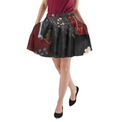 Awesmoe Black Horse With Flowers On Red Background A Line Pocket Skirt by FantasyWorld7