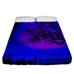 Halloween Landscape Fitted Sheet (queen Size) by Valentinaart