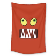 Funny Monster Face Large Tapestry by linceazul