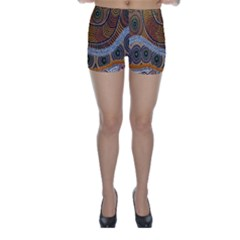 Aboriginal Traditional Pattern Skinny Shorts by Onesevenart