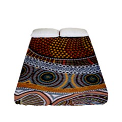 Aboriginal Traditional Pattern Fitted Sheet (full/ Double Size) by Onesevenart