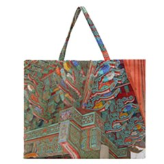 Traditional Korean Painted Paterns Zipper Large Tote Bag by Onesevenart