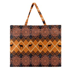 Traditiona  Patterns And African Patterns Zipper Large Tote Bag by Onesevenart