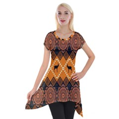 Traditiona  Patterns And African Patterns Short Sleeve Side Drop Tunic by Onesevenart