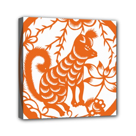 Chinese Zodiac Dog Mini Canvas 6  X 6  by Onesevenart