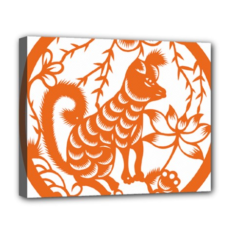 Chinese Zodiac Dog Deluxe Canvas 20  X 16   by Onesevenart