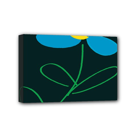 Whimsical Blue Flower Green Sexy Mini Canvas 6  X 4  by Mariart