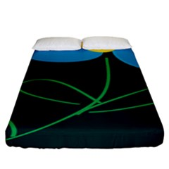 Whimsical Blue Flower Green Sexy Fitted Sheet (king Size) by Mariart