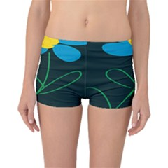 Whimsical Blue Flower Green Sexy Boyleg Bikini Bottoms by Mariart