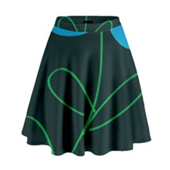 Whimsical Blue Flower Green Sexy High Waist Skirt by Mariart