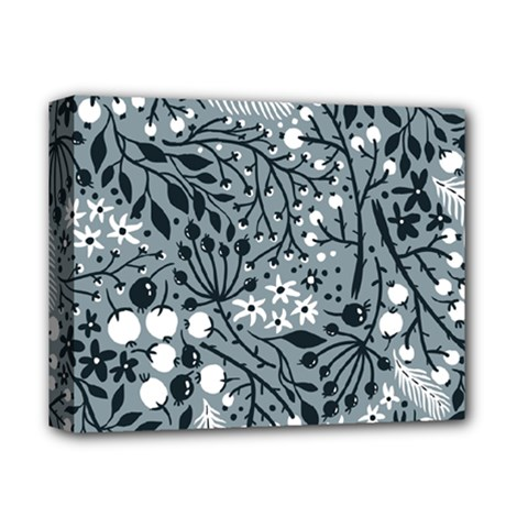 Abstract Floral Pattern Grey Deluxe Canvas 14  X 11  by Mariart