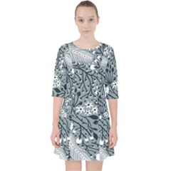 Abstract Floral Pattern Grey Pocket Dress
