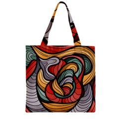 Beautiful Pattern Background Wave Chevron Waves Line Rainbow Art Zipper Grocery Tote Bag by Mariart