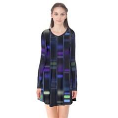 Biostatistics Line Blue Flare Dress by Mariart