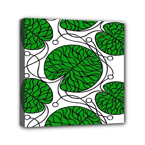 Bottna Fabric Leaf Green Mini Canvas 6  X 6  by Mariart