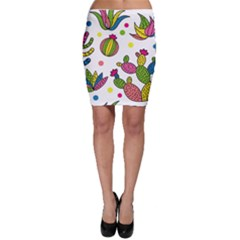 Cactus Seamless Pattern Background Polka Wave Rainbow Bodycon Skirt by Mariart