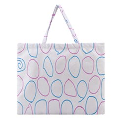 Circles Featured Pink Blue Zipper Large Tote Bag by Mariart