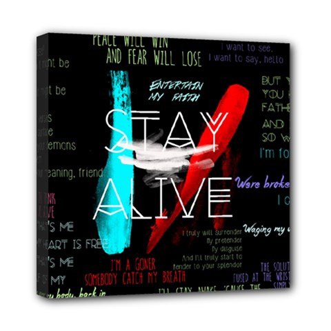 Twenty One Pilots Stay Alive Song Lyrics Quotes Mini Canvas 8  X 8  by Onesevenart