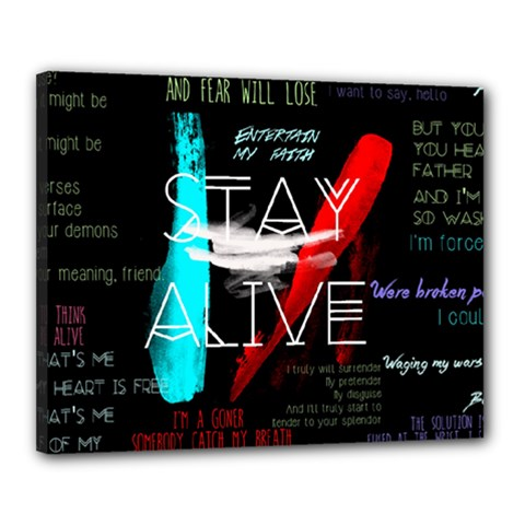 Twenty One Pilots Stay Alive Song Lyrics Quotes Canvas 20  X 16  by Onesevenart