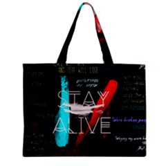Twenty One Pilots Stay Alive Song Lyrics Quotes Zipper Mini Tote Bag by Onesevenart