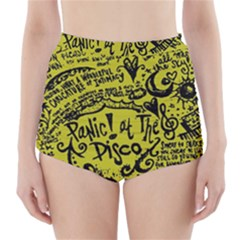 Panic! At The Disco Lyric Quotes High Waisted Bikini Bottoms by Onesevenart