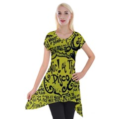 Panic! At The Disco Lyric Quotes Short Sleeve Side Drop Tunic by Onesevenart