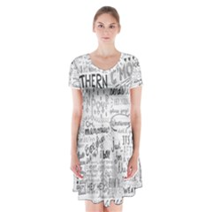 Panic At The Disco Lyrics Short Sleeve V Neck Flare Dress by Onesevenart