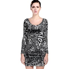 Panic At The Disco Lyric Quotes Retina Ready Long Sleeve Bodycon Dress by Onesevenart