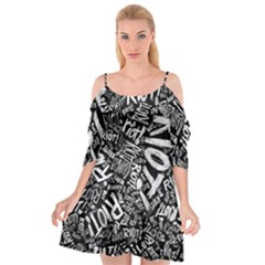 Panic At The Disco Lyric Quotes Retina Ready Cutout Spaghetti Strap Chiffon Dress by Onesevenart