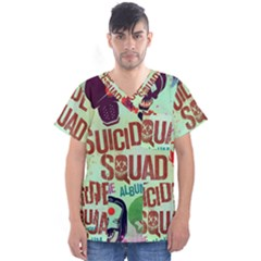 Panic! At The Disco Suicide Squad The Album Men s V Neck Scrub Top by Onesevenart