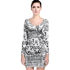 Panic! At The Disco Lyric Quotes Long Sleeve Bodycon Dress by Onesevenart